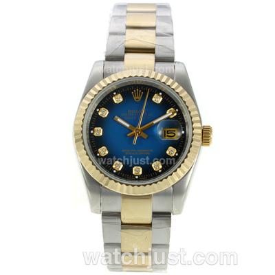 Rolex Datejust Automatic Two Tone Diamond Markers with Blue Dial [fe4e]