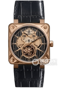 Copy Bell & Ross BR 01 TOURBILLON Series BR 01 TOURBILLON PINK GOLD aluminum metal fiber dial watches [e498]