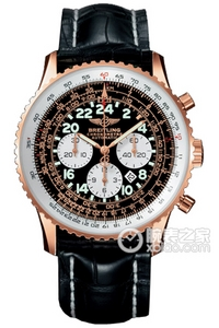 Copy Astronaut Breitling watches (COSMONAUTE) Series 18K red gold case - black dial - crocodile leather strap watches [d288]