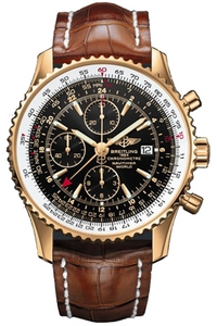Copy World watches Breitling Aviation (Navitimer World) Series H24322 ( dial -Barenia black leather strap ) watches [cbe9]