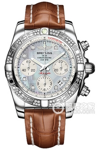 Copy 41 Mechanical Chronograph Breitling watches (CHRONOMAT 41) series stainless steel case - diamond bezel - gray pearl diamond dial - crocodile leather strap watches [e5a6]