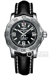 Copy 33 Ocean Breitling watches (Colt 33) series stainless steel case - volcanic black leather strap watch dial -Barenia [5dd1]