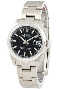 Copy Ladies Rolex Datejust 178240 sort plade 31 mm serie ure [e32a]