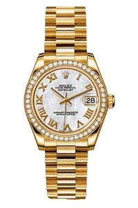 Copy Ladies Rolex Datejust 31 mm Series 178288 white mother of pearl dial watches [d42e]
