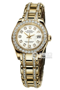 Copy Ladies Rolex Datejust Ladies Pearl Series 80,298 diamond-studded watch white plate [6792]