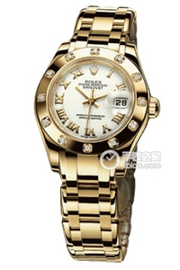 Copy Ladies Rolex Datejust Ladies Pearl Series 80,318 diamond-studded watch white plate [1438]
