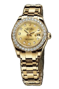 Copy Ladies Rolex Datejust Ladies Pearl Series 80298 Champagne Dial Watches [13fb]