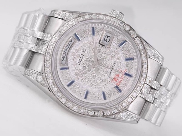 Rolex Day-Date Swiss ETA 2836 Watch Movement Diamond Bezel And Dial Blue Marking 666 [9a6b]