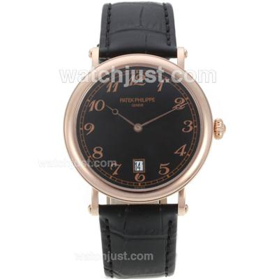 Patek Philippe Automatic Rose Gold Case with Black Dial-Leather Strap [d45f]
