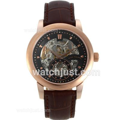 Patek Philippe Automatic Rose Gold Case with Skeleton/Black Dial-Brown Leather Strap [83a3]