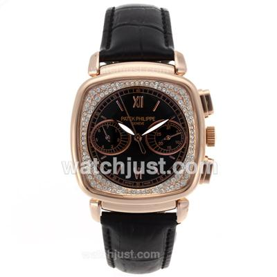 Patek Philippe Classic Automatic Rose Gold Case Diamond Bezel with Black Dial-18K Plated Gold Movement [bf47]