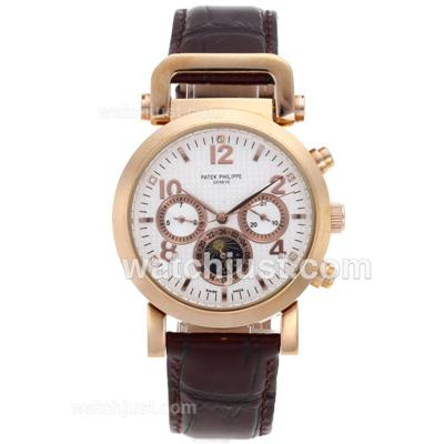 Patek Philippe Classic Automatic Rose Gold Case with White Checkered Dial-Leather Strap [1ec0]