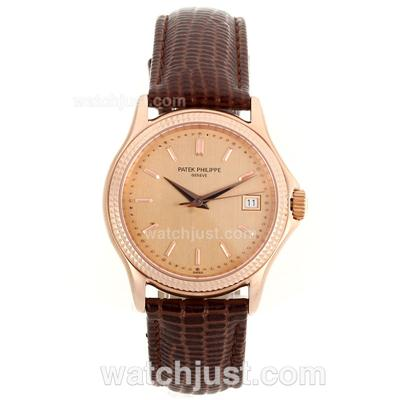 Patek Philippe Classic Automatic Rose Gold Case Stick Markers with Champagne Dial-Sapphire Glass [71b4]
