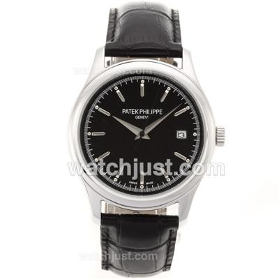 Patek Philippe Classic Automatic Stick Markers with Black Dial-Sapphire Glass [0e50]