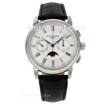Patek Philippe Classic Chronograph Lemania Movement Moonphase with White Dial [a57e]