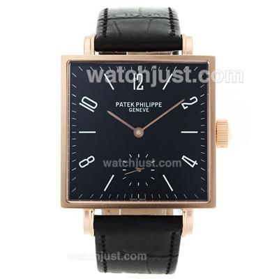 Patek Philippe Classic Manual Winding Rose Gold Case with Black Dial-Leather Strap [d734]