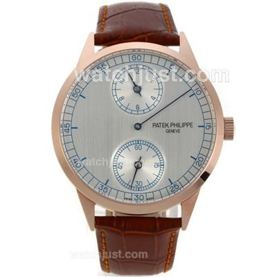 Patek Philippe Classic Manual Winding Rose Gold Case with Grey Dial-Brown Leather Strap [0307]
