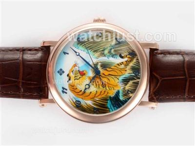 Patek Philippe Classic Manual Winding Rose Gold Case Tiger Illustration with Enamel Dial [6457]