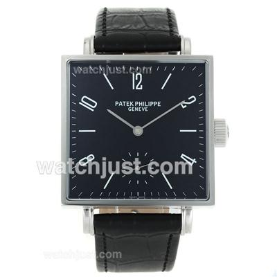 Patek Philippe Classic Manual Winding with Black Dial-Leather Strap [6bae]