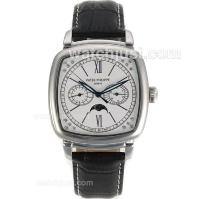 Patek Philippe Classic Moonphase Automatic with White Dial-Leather Strap [4e3d]