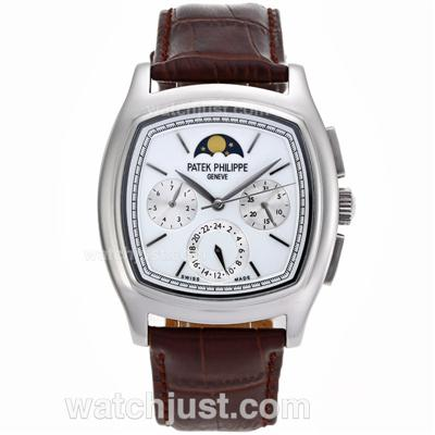 Patek Philippe Classic Moonphase Automatic with White Dial-Leather Strap [a845]