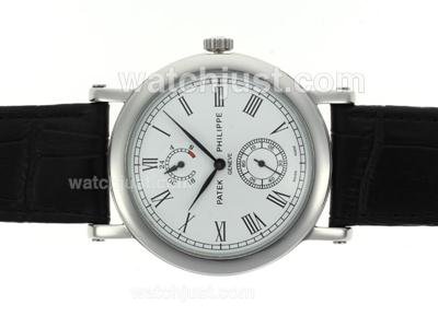 Patek Philippe Classic Romeinse Markers met White Dial - Lederen Band [cbbe]