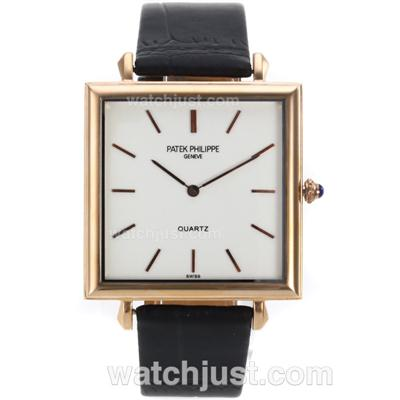 Patek Philippe Classic Rose Gold Case Stick Markers with White Dial-Leather Strap [ae63]