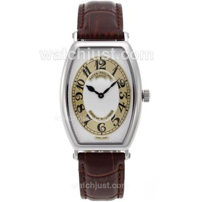 Patek Philippe Classic Swiss ETA Movement with White Dial-Leather Strap [8df5]