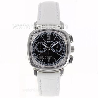 Patek Philippe Classic Working Chronograph Diamond Bezel with Black Dial-Sapphire Glass [81c7]