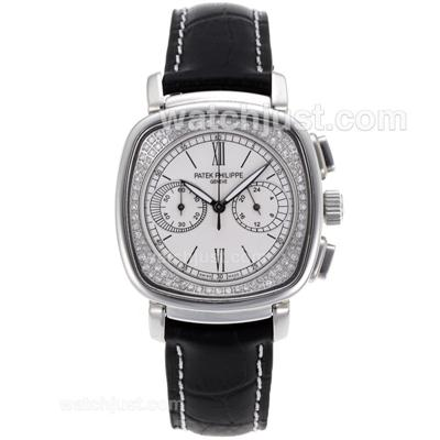 Patek Philippe Classic Working Chronograph Diamond Bezel with White Dial-Black Leather Strap [6712]
