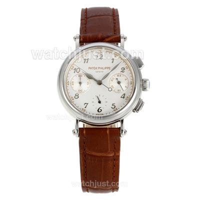 Patek Philippe Classic Working Chronograph Diamond Bezel with White Dial- Brown Leather Strap [ea46]