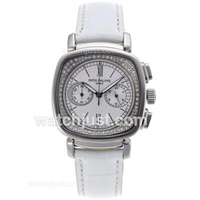 Patek Philippe Classic Working Chronograph Diamond Bezel with White Dial-White Leather Strap [09db]