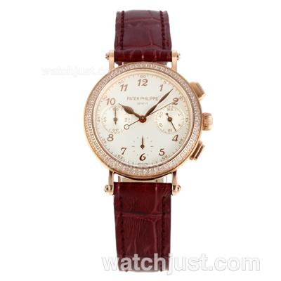 Patek Philippe Classic Working Chronograph Diamond Bezel Rose Gold Case with White Dial-Burgundy Leather Strap [113b]