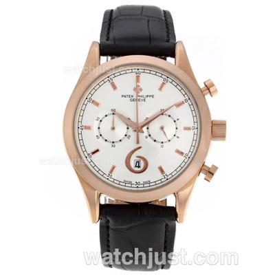 Patek Philippe Classic Working Chronograph Rose Gold Case with White Dial-Leather Strap [cb84]