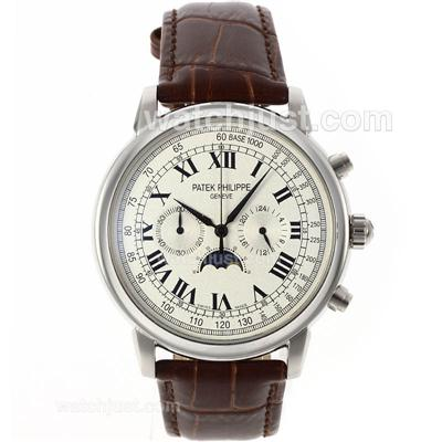 Patek Philippe Classic Working Chronograph with White Dial-Roman Markers [dd31]