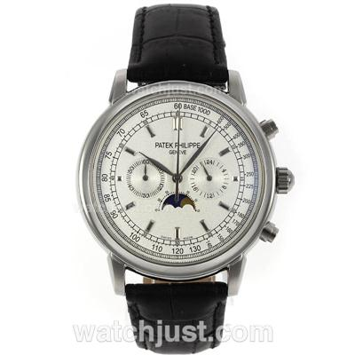 Patek Philippe Classic Working Chronograph with White Dial-Stick Markers [cd46]