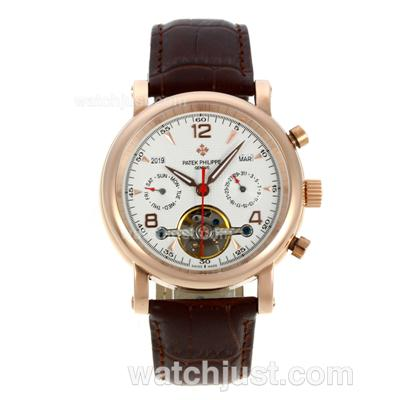Patek Philippe Tourbillon Automatic Rose Gold Case with White Dial-Leather Strap [27c4]