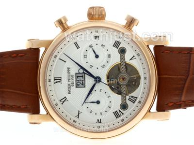 Patek Philippe Tourbillon Automatic Rose Gold Case with White Dial-Leather Strap [c0c0]