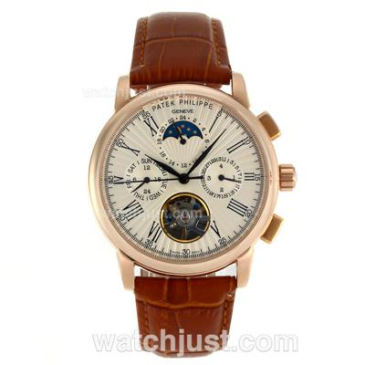 Patek Philippe Tourbillon Automatic Rose Gold Case Roman Markers with Chamgagne Dial-Leather Strap [e3b1]