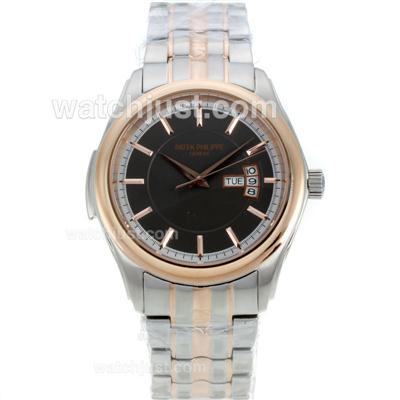 Patek Philippe Two Tone Automatic Black Dial [3fe9]