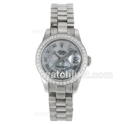 Rolex Datejust Automatic Diamond Bezel Roman Markers with White MOP Dial-Flowers Illustration [ddee]