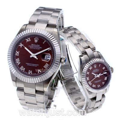 Rolex Datejust Swiss ETA 2836 Movement Roman Markers with Brown Dial S/S-Couple Watch [e0e0]