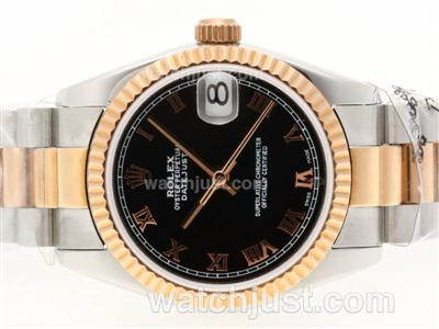 Rolex Datejust Swiss ETA 2836 Movement Two Tone Roman Marking with Black Dial [a9ac]