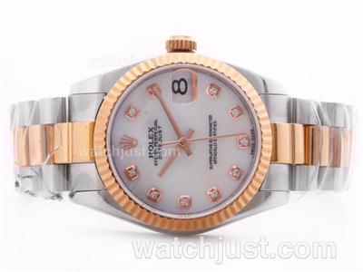 Rolex Datejust Swiss ETA 2836 Movement Two Tone White MOP Dial with Diamond Marking-Mid Size [838b]