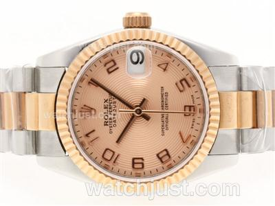 Rolex Datejust Swiss ETA 2836 Movement Two Tone Number Marking with Champagne Dial [3b50]