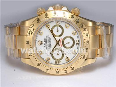 Rolex Daytona Automatic Full 18K Gold Plated with White Dial [ac2e]