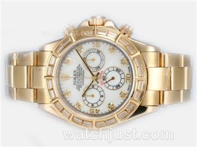 Rolex Daytona Chronograph Swiss Valjoux 7750 Movement Full Gold With Baguette CZ Diamond Bezel-MOP Dial [5073]