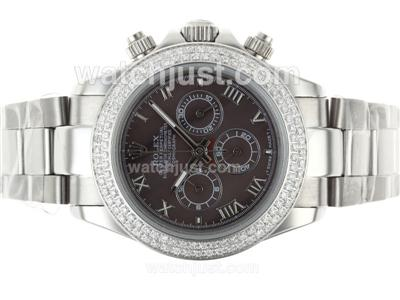 Rolex Daytona Working Chronograph Diamond Bezel Roman Markers with Brown Dial [1372]