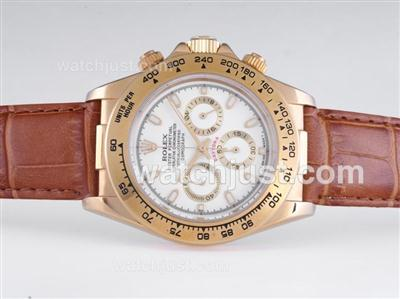 Rolex Daytona Working Chronograph Gold Case with White Dial [d7c4]