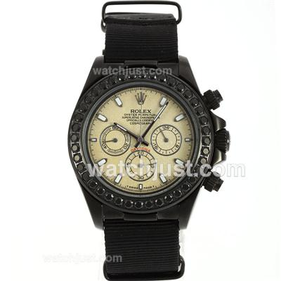 Rolex Daytona Working Chronograph PVD Case Black Diamond Bezel Stick Markers with Granite Dial-Nylon Strap [bdec]